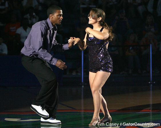 """photo by Tim Casey<br /> <br /> Jai Lucas and Dazzler Casey Reed perform during """"Shooting With the Stars,"""" a basketball fan appreciation event, on Friday, October 24, 2008 at the Stephen C. O'Connell Center in Gainesville, Fla."""