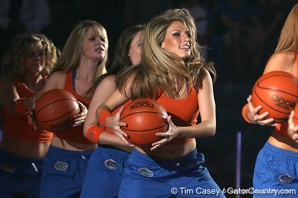 """photo by Tim Casey<br /> <br /> The Florida Dazzlers perform during """"Shooting With the Stars,"""" a basketball fan appreciation event, on Friday, October 24, 2008 at the Stephen C. O'Connell Center in Gainesville, Fla."""