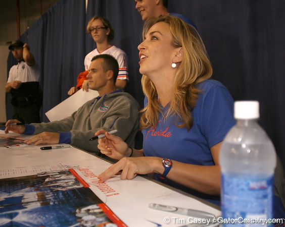 """photo by Tim Casey<br /> <br /> UF women's basketball head coach Amanda Butler signs autographs during """"Shooting With the Stars,"""" a basketball fan appreciation event, on Friday, October 24, 2008 at the Stephen C. O'Connell Center in Gainesville, Fla."""