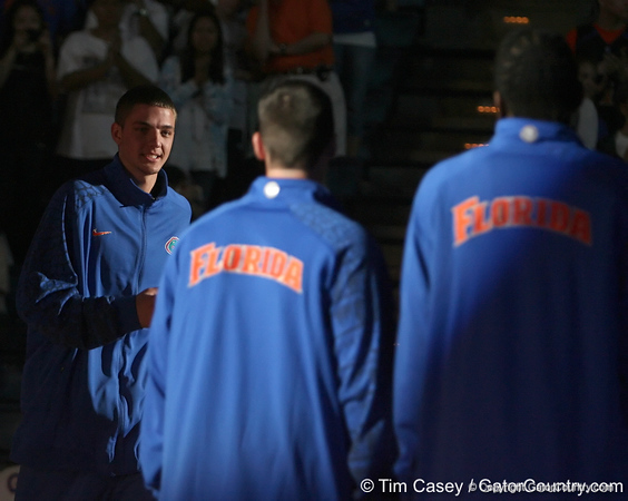 """photo by Tim Casey<br /> <br /> Chandler Parsons gets introduced during """"Shooting With the Stars,"""" a basketball fan appreciation event, on Friday, October 24, 2008 at the Stephen C. O'Connell Center in Gainesville, Fla."""