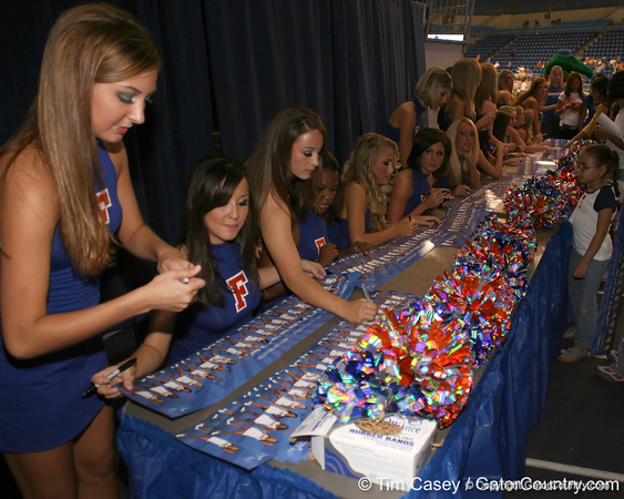 """photo by Tim Casey<br /> <br /> Florida Dazzlers sign autographs during """"Shooting With the Stars,"""" a basketball fan appreciation event, on Friday, October 24, 2008 at the Stephen C. O'Connell Center in Gainesville, Fla."""