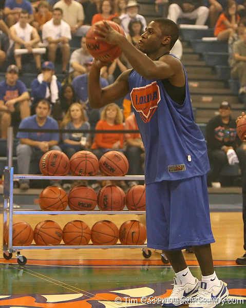 """photo by Tim Casey<br /> <br /> Erving Walker takes a shot from halfcourt during """"Shooting With the Stars,"""" a basketball fan appreciation event, on Friday, October 24, 2008 at the Stephen C. O'Connell Center in Gainesville, Fla."""