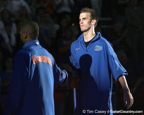 """photo by Tim Casey<br /> <br /> Nick Calathes gets introduced during """"Shooting With the Stars,"""" a basketball fan appreciation event, on Friday, October 24, 2008 at the Stephen C. O'Connell Center in Gainesville, Fla."""