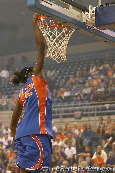 """photo by Tim Casey<br /> <br /> Aneika Henry goes up for a dunk during """"Shooting With the Stars,"""" a basketball fan appreciation event, on Friday, October 24, 2008 at the Stephen C. O'Connell Center in Gainesville, Fla."""