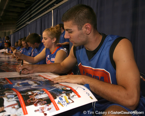 """photo by Tim Casey<br /> <br /> Dan Werner signs autographs during """"Shooting With the Stars,"""" a basketball fan appreciation event, on Friday, October 24, 2008 at the Stephen C. O'Connell Center in Gainesville, Fla."""