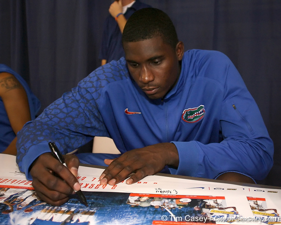 """photo by Tim Casey<br /> <br /> Vernon Macklin signs autographs during """"Shooting With the Stars,"""" a basketball fan appreciation event, on Friday, October 24, 2008 at the Stephen C. O'Connell Center in Gainesville, Fla."""