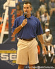 "photo by Tim Casey<br /> <br /> Billy Donovan speaks to the crowd during ""Shooting With the Stars,"" a basketball fan appreciation event, on Friday, October 24, 2008 at the Stephen C. O'Connell Center in Gainesville, Fla."