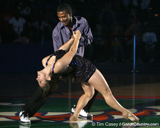 "photo by Tim Casey<br /> <br /> Jai Lucas and Dazzler Casey Reed perform during ""Shooting With the Stars,"" a basketball fan appreciation event, on Friday, October 24, 2008 at the Stephen C. O'Connell Center in Gainesville, Fla."
