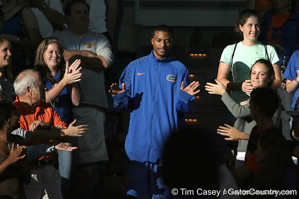 """photo by Tim Casey<br /> <br /> Jai Lucas gets introduced during """"Shooting With the Stars,"""" a basketball fan appreciation event, on Friday, October 24, 2008 at the Stephen C. O'Connell Center in Gainesville, Fla."""