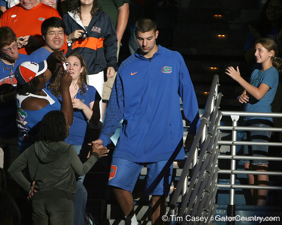 """photo by Tim Casey<br /> <br /> Dan Werner gets introduced during """"Shooting With the Stars,"""" a basketball fan appreciation event, on Friday, October 24, 2008 at the Stephen C. O'Connell Center in Gainesville, Fla."""