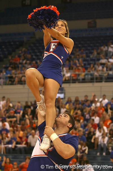 """photo by Tim Casey<br /> <br /> Florida cheerleaders perform during """"Shooting With the Stars,"""" a basketball fan appreciation event, on Friday, October 24, 2008 at the Stephen C. O'Connell Center in Gainesville, Fla."""