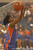 "photo by Tim Casey<br /> <br /> Sha Brooks shoots for a 3-point basket during ""Shooting With the Stars,"" a basketball fan appreciation event, on Friday, October 24, 2008 at the Stephen C. O'Connell Center in Gainesville, Fla."