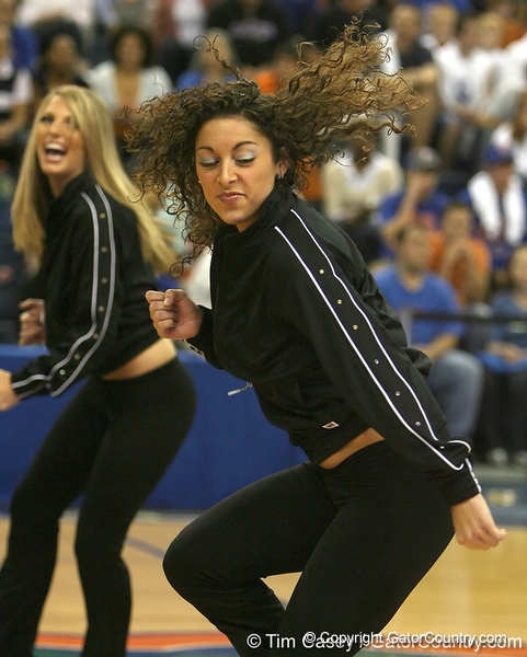 """photo by Tim Casey<br /> <br /> Florida Dazzlers perform during """"Shooting With the Stars,"""" a basketball fan appreciation event, on Friday, October 24, 2008 at the Stephen C. O'Connell Center in Gainesville, Fla."""