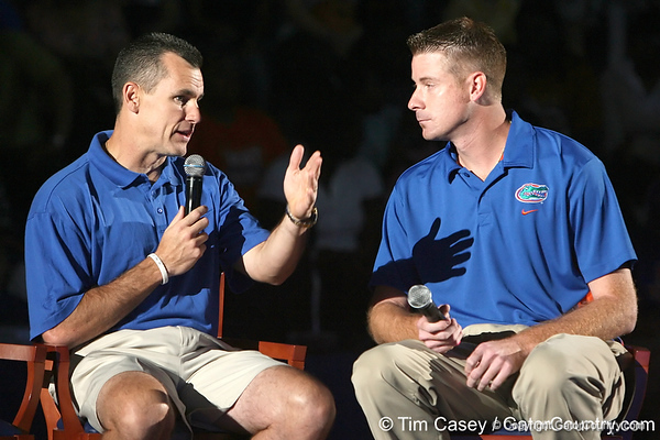 """photo by Tim Casey<br /> <br /> UF men's basketball head coach Billy Donovan speaks with Jeff Cardozo during """"Shooting With the Stars,"""" a basketball fan appreciation event, on Friday, October 24, 2008 at the Stephen C. O'Connell Center in Gainesville, Fla."""