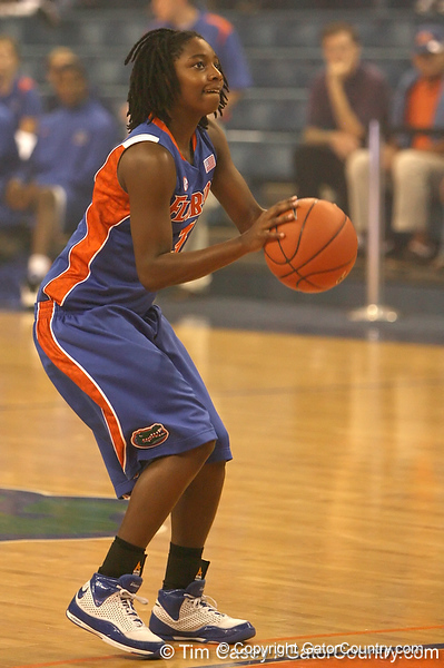 """photo by Tim Casey<br /> <br /> Sha Brooks shoots for a 3-point basket during """"Shooting With the Stars,"""" a basketball fan appreciation event, on Friday, October 24, 2008 at the Stephen C. O'Connell Center in Gainesville, Fla."""