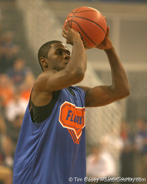 """photo by Tim Casey<br /> <br /> Erving Walker shoots for a 3-point basket during """"Shooting With the Stars,"""" a basketball fan appreciation event, on Friday, October 24, 2008 at the Stephen C. O'Connell Center in Gainesville, Fla."""