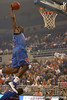 "photo by Tim Casey<br /> <br /> Ray Shipman goes up for a slam dunk during ""Shooting With the Stars,"" a basketball fan appreciation event, on Friday, October 24, 2008 at the Stephen C. O'Connell Center in Gainesville, Fla."