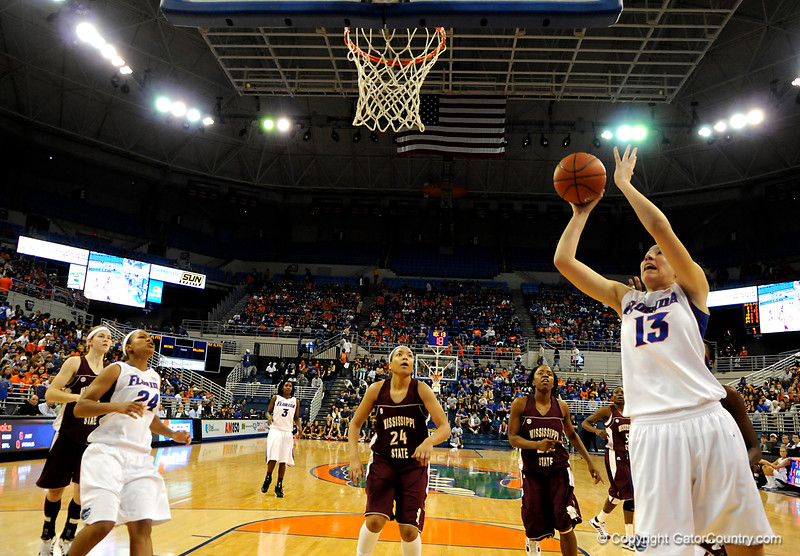 (Casey Brooke Lawson / Gator Country) UF center Azania Stewart scores over a Mississippi State player during the Gators game against the Lady Bulldogs in Gainesville, Fla., on January 8, 2009.