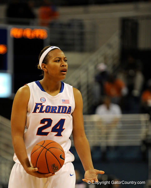 (Casey Brooke Lawson / Gator Country) UF forward Shariella Smith looks at the referee after a call made in favor of Mississippi State during the Gators game against the Lady Bulldogs in Gainesville, Fla., on January 8, 2009.