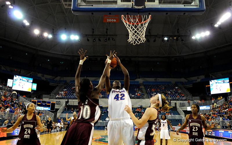 (Casey Brooke Lawson / Gator Country) UF center Anika Henry scores over a Mississippi State player during the Gators game against the Lady Bulldogs in Gainesville, Fla., on January 8, 2009.