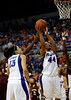 (Casey Brooke Lawson / Gator Country) UF forward Marshae Dotson scores over a Mississippi State player during the Gators game against the Lady Bulldogs in Gainesville, Fla., on January 8, 2009.