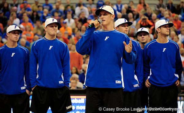 University of Florida baseball player Hampton Tignor speaks  during the Gators 64-76 loss to the Musketeers in Gainesville, Fla., on Saturday, February 13, 2010. / Gator Country photo by Casey Brooke Lawson