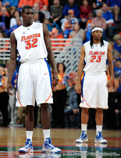 University of Florida forward Vernon Macklin prepares to start the game before the Gators 64-76 loss to the Musketeers in Gainesville, Fla., on Saturday, February 13, 2010. / Gator Country photo by Casey Brooke Lawson