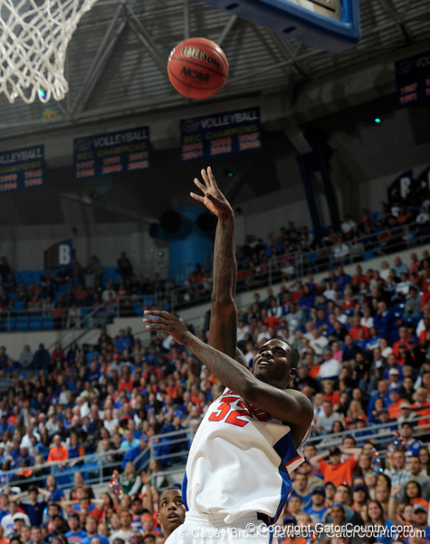University of Florida forward Vernon Macklin scores during the Gators 64-76 loss to the Musketeers in Gainesville, Fla., on Saturday, February 13, 2010. / Gator Country photo by Casey Brooke Lawson