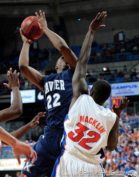 University of Florida forward Vernon Macklin blocks an Xavier player during the Gators 64-76 loss to the Musketeers in Gainesville, Fla., on Saturday, February 13, 2010. / Gator Country photo by Casey Brooke Lawson