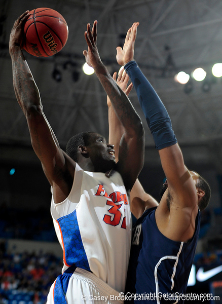 University of Florida forward Vernon Macklin scores over an Xavier player during the Gators 64-76 loss to the Musketeers in Gainesville, Fla., on Saturday, February 13, 2010. / Gator Country photo by Casey Brooke Lawson