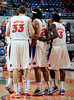 Some of the members of the University of Florida men's basketball team huddle during the Gators 64-76 loss to the Musketeers in Gainesville, Fla., on Saturday, February 13, 2010. / Gator Country photo by Casey Brooke Lawson