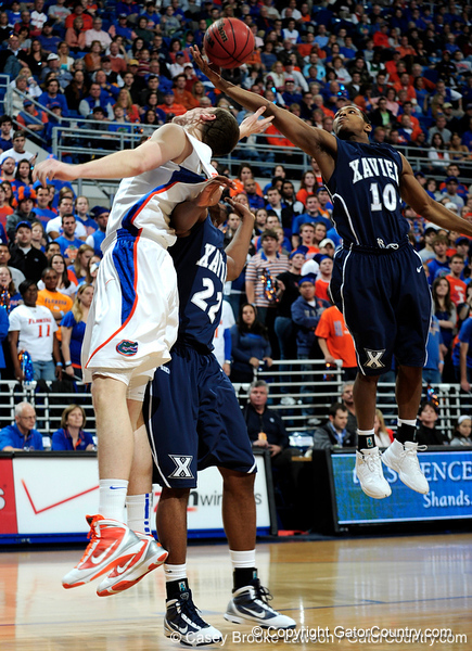 University of Florida guard Kyle McClanahan moves the ball past an Xavier player during the Gators 64-76 loss to the Musketeers in Gainesville, Fla., on Saturday, February 13, 2010. / Gator Country photo by Casey Brooke Lawson