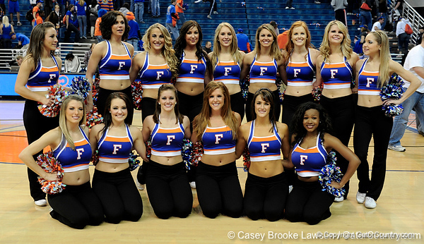 The University of Florida Dazzlers pose after the Gators 64-76 loss to the Musketeers in Gainesville, Fla., on Saturday, February 13, 2010. / Gator Country photo by Casey Brooke Lawson