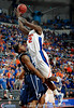 University of Florida forward Vernon Macklin moves the ball past an Xavier player during the Gators 64-76 loss to the Musketeers in Gainesville, Fla., on Saturday, February 13, 2010. / Gator Country photo by Casey Brooke Lawson