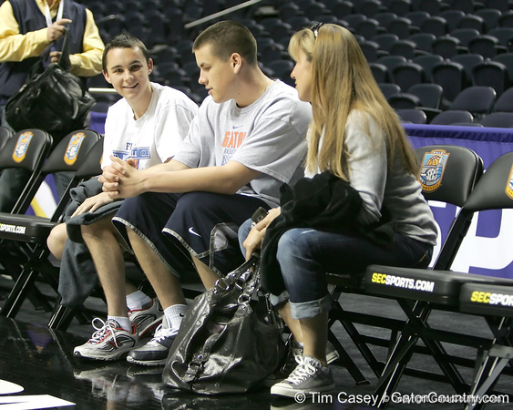 Bryan, Billy Jr. and Christine Donvan watch during the Gators' preparation for the SEC Men's Basketball Tournament on Wednesday, March 10, 2010 at Bridgestone Arena in Nashville, Tenn. / Gator Country photo by Tim Casey