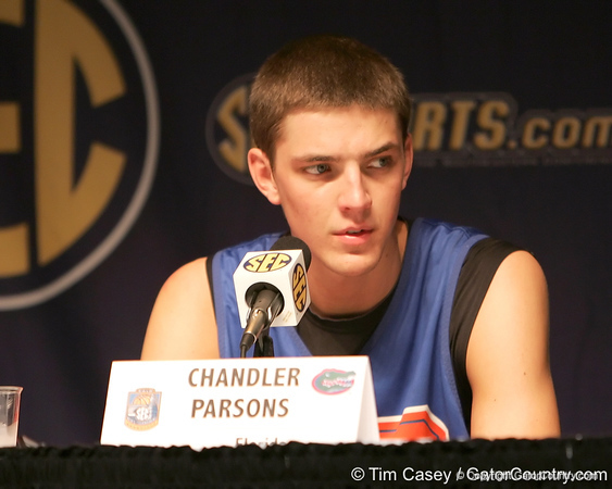 Florida junior forward Chandler Parsons talks to reporters during the Gators' preparation for the SEC Men's Basketball Tournament on Wednesday, March 10, 2010 at Bridgestone Arena in Nashville, Tenn. / Gator Country photo by Tim Casey