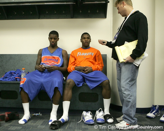 Florida freshman guard Kenny Boynton and sophomore guard Erving Walker talk to reporters during the Gators' preparation for the SEC Men's Basketball Tournament on Wednesday, March 10, 2010 at Bridgestone Arena in Nashville, Tenn. / Gator Country photo by Tim Casey