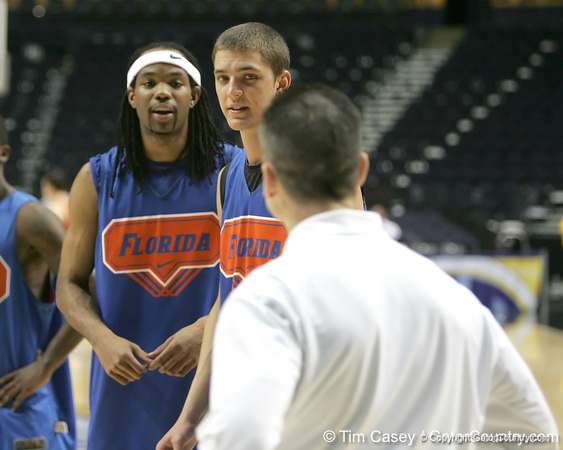 Florida junior forward Chandler Parsons listens to Billy Donovan during the Gators' preparation for the SEC Men's Basketball Tournament on Wednesday, March 10, 2010 at Bridgestone Arena in Nashville, Tenn. / Gator Country photo by Tim Casey