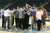 Florida head coach Billy Donovan talks to his team during the Gators' preparation for the SEC Men's Basketball Tournament on Wednesday, March 10, 2010 at Bridgestone Arena in Nashville, Tenn. / Gator Country photo by Tim Casey