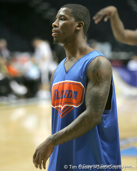 Florida freshman guard Kenny Boynton works out during the Gators' preparation for the SEC Men's Basketball Tournament on Wednesday, March 10, 2010 at Bridgestone Arena in Nashville, Tenn. / Gator Country photo by Tim Casey