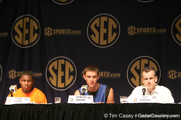 Florida sophomore guard Erving Walker, junior forward Chandler Parsons and head coach Billy Donovan talk to reporters during the Gators' preparation for the SEC Men's Basketball Tournament on Wednesday, March 10, 2010 at Bridgestone Arena in Nashville, Tenn. / Gator Country photo by Tim Casey
