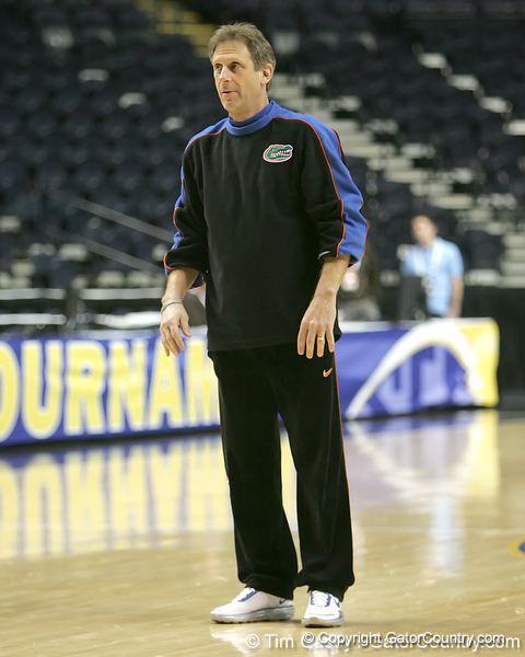 Florida associate head coach Larry Shyatt looks on during the Gators' preparation for the SEC Men's Basketball Tournament on Wednesday, March 10, 2010 at Bridgestone Arena in Nashville, Tenn. / Gator Country photo by Tim Casey