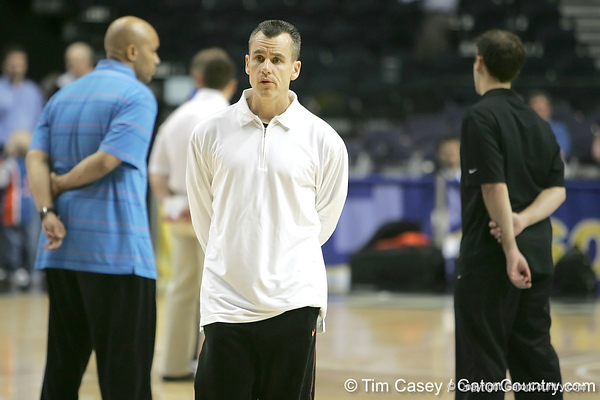 Florida head coach Billy Donovan looks on during the Gators' preparation for the SEC Men's Basketball Tournament on Wednesday, March 10, 2010 at Bridgestone Arena in Nashville, Tenn. / Gator Country photo by Tim Casey