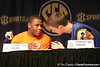 Florida sophomore guard Erving Walker talks with junior forward Chandler Parsons at a press conference during the Gators' preparation for the SEC Men's Basketball Tournament on Wednesday, March 10, 2010 at Bridgestone Arena in Nashville, Tenn. / Gator Country photo by Tim Casey