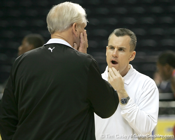 Florida head coach Billy Donovan talks during the Gators' preparation for the SEC Men's Basketball Tournament on Wednesday, March 10, 2010 at Bridgestone Arena in Nashville, Tenn. / Gator Country photo by Tim Casey