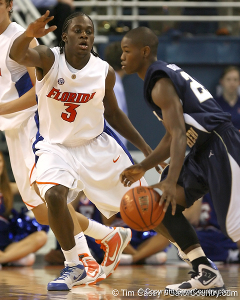 Florida sophomore guard/forward Ray Shipman defends the point during the Gators' 69-49 win against Georgia Southern on Wednesday, November 18, 2009 at the Stephen C. O'Connell Center in Gainesville, Fla. / photo by Tim Casey