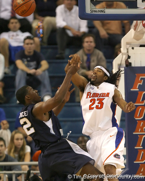 Florida junior forward Alex Tyus blocks a shot by Georgia Southern's Rory Spencer during the second half of the Gators' 69-49 win against the Eagles on Wednesday, November 18, 2009 at the Stephen C. O'Connell Center in Gainesville, Fla. / photo by Tim Casey