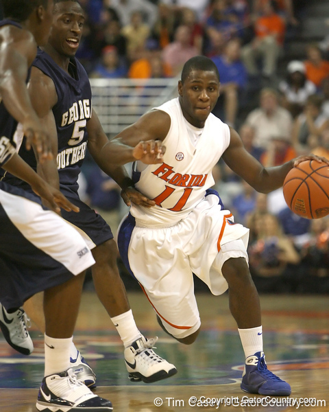 Florida sophomore guard Erving Walker dribbles around a defender during the Gators' 69-49 win against Georgia Southern on Wednesday, November 18, 2009 at the Stephen C. O'Connell Center in Gainesville, Fla. / photo by Tim Casey