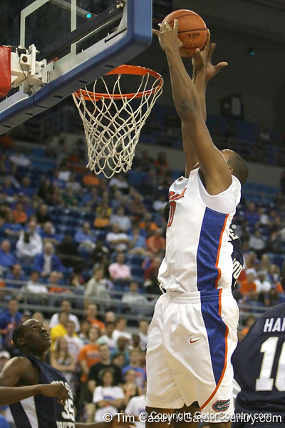 Florida sophomore forward/center Kenny Kadji goes up for a dunk during the Gators' 69-49 win against Georgia Southern on Wednesday, November 18, 2009 at the Stephen C. O'Connell Center in Gainesville, Fla. / photo by Tim Casey