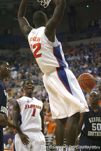 Florida redshirt junior forward/center Vernon Macklin follows through on a dunk during the Gators' 69-49 win against Georgia Southern on Wednesday, November 18, 2009 at the Stephen C. O'Connell Center in Gainesville, Fla. / photo by Tim Casey